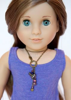American Girl Doll necklace - purple beads on Etsy, $4.50