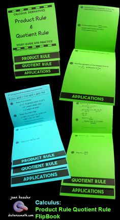 Calculus - Product Rule and Quotient Rule Flip Book plus assignment Super fun way to engage students in practice and review of the Product and Quotient Rules.So easy to put together, Students love this!