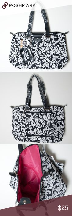"""NWT Large Hampton Tote Black White Damask New with tags Joann Marie Designs Hampton Tote in Damask. Great for on the go. Fully functional and fashionable bag. Folds up for easy storage in your suitcase when you need an extra bag. Two zippers on the back allow this bag to securely slip over the telescoping handles on a rolling tote. Completed lined. Approximate measurements 21"""" w x 13"""" h x 7"""" gusset. Comes with id/coin pouch. Joann Marie Designs Bags Totes"""