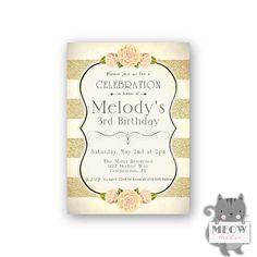 Girl's Birthday Invitations / 3rd Birthday Girl