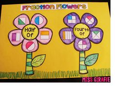 First Grade Math Unit 18 Fractions by Miss Giraffe Teaching Fractions, Math Fractions, Teaching Math, Equivalent Fractions, Dividing Fractions, Teaching Ideas, Primary Teaching, Maths, Fraction Activities
