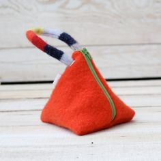 recycled wool triangle pouch.