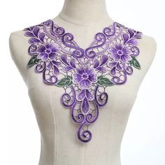 Cheap lace cross-stitch, Buy Quality lace blouse directly from China lace slips Suppliers: Purple Craft Polyester Flower Embroidery Decorated Lace Neckline Collar Applique Trims Venise Patches Machine Embroidery Patterns, Embroidery Designs, Hand Embroidery, Crochet Collar, Lace Collar, Irish Crochet, Crochet Lace, Purple Crafts, Couture Embroidery