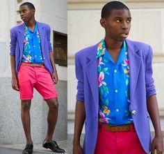 Hawaiian Print Shirt, Hot Pink Shorts, Black Shoe Shine Brogues