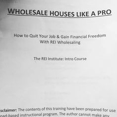 "Making final edits to our ""Wholesale Houses Like A Pro"" course.  Learn how to quit your job and gain financial freedom with our comprehensive, step by step guide to real estate investment and wholesaling.  Free Seminar coming in just a few weeks!  Contact us directly (DM) or email is at info@jwiproperties.com"