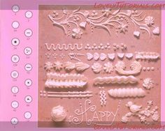 TONS of photos of piping tips and what they do. Very useful!