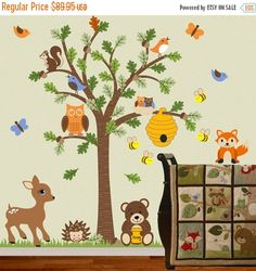 Charming Children Wall Decal Forest Friends Honey Bear Tree Decal Fox Deer Bee  Woodland OHSC
