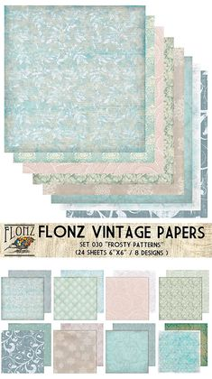 """Paper Pack (24sh 6""""x6"""") Frosty Winter Ice Patterns FLONZ Vintage Paper for Scrapbooking and Craft"""