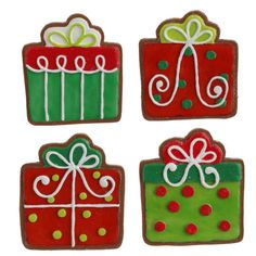 RAZ Present Cookie Christmas Ornament Set of 4 4 Asst Red/Green/White Made of Polyethylene Measures For Decorative Use Only RAZ Exclusive Additional photo of ornament includes Christmas Sugar Cookies, Christmas Sweets, Christmas Baking, Green Christmas, Christmas 2014, Birthday Cookies, Cupcake Cookies, Biscuit Decoration, Food Decoration