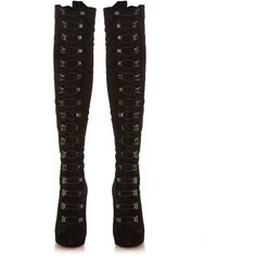 Christian Louboutin Top Croche 120mm over-the-knee suede boots ($2,414) ❤ liked on Polyvore featuring shoes, boots, suede thigh high boots, thigh high boots, christian louboutin boots, over-knee boots and over the knee suede boots