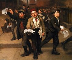 Extra!, Oil On Canvas by John George Brown (1831-1913, England)