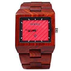 Men's Wooden Quartz Square Watch With Calendar Display