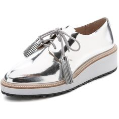 Loeffler Randall Callie Platform Oxfords ($390) ❤ liked on Polyvore featuring shoes, oxfords, silver, leather lace up shoes, metallic shoes, lace up oxfords, platform oxfords and platform shoes