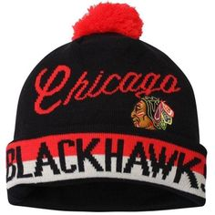5f2e5b76c61 Youth Chicago Blackhawks CCM Black Vintage Retro Cuffed Hat with Pom