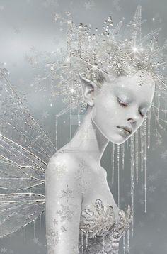 Snow Fairy Art by Maxine Gadd Maxinesimaginarium Snow Queen, Ice Queen, Fairy Land, Fairy Tales, Snow Fairy, Winter Fairy, Winter Snow, Kobold, Elves And Fairies
