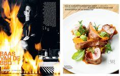 Baas van de BBQ. Boy van der Loop. Restaurant Mercat, Amsterdam. Gerecht: Gerookte Ibérico varkenshaas van de barbecue met paprika, zoete aardappel en riojasaus. Fotografie JASPER BOSMAN