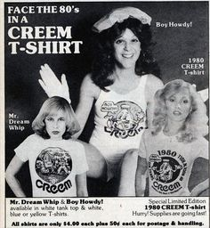 Gilda Radner modeling a CREEM magazine t-shirt 1980