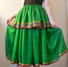 Green Silk Drawstring Skirt Used Upcycled Sari Fabric Gypsy Boho Chic | DiscordThreads - Clothing on ArtFire