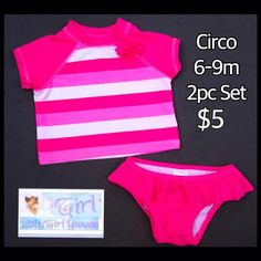 Circo 6-9m Infant Girls Pink Striped 2pc Bathing Suit $5.  Thank you for shopping with Baby Girl Heaven.  Free shipping with $30 purchase.
