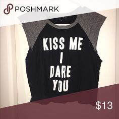casual t shirt crop top black and grey shirt Forever 21 Tops Crop Tops