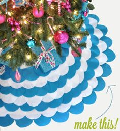 Sweet and Chic Scalloped Tree Skirt | Add a pop of color to your Christmas tree with this pretty scalloped tree skirt!