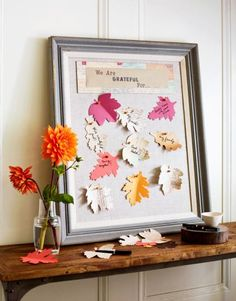 This year, have Thanksgiving guests write what they are thankful for on a paper leaf and pin it up. More Thanksgiving decorating: http://www.midwestliving.com/holidays/thanksgiving/easy-ideas-for-thanksgiving-decorating/