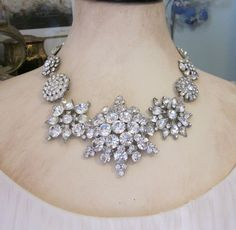 One of a Kind Vintage Assemblage Rhinestone Statement Necklace by JryenDesigns