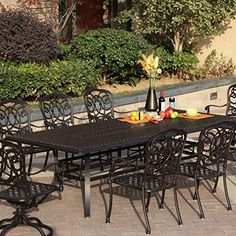 Darlee Florence 9 Piece Cast Aluminum Patio Dining Set With Rectangular Table Antique Bronze ** Visit the image link more details. (This is an affiliate link) Rolling Workbench, Aluminum Patio, Dining Set, Patio Dining, Wrought Iron, Florence, Furniture Design, Backyard, Outdoor Decor