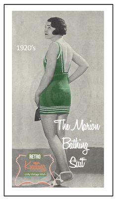 1920's Marion Bathing Suit  Vintage Knitting Pattern- PDF Instant Download