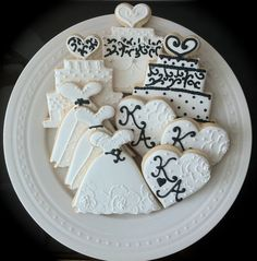 Black and White Decorated Wedding or Engagement  Cookies- Assortment of Cakes, Dresses and Rings