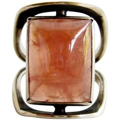 Preowned Jack Nutting Rhodochrosite Sterling Silver Modernist Ring (745 CAD) ❤ liked on Polyvore featuring jewelry, rings, cocktail rings, multiple, preowned jewelry, horn jewelry, sterling silver rings and sterling silver jewelry