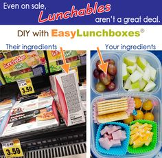 "An inspirational photo gallery of DIY ""Lunchables"" packed in EasyLunchboxes."