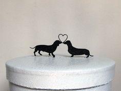 Wedding Cake Topper - Dachshund Dogs Wedding by Plasticsmith on Etsy