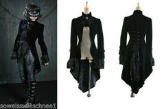 Punk-Rave-Samt-Mantel-Gehrock-Frack-Gothic-Jacket-Velvet-Tailcoat-UNISEX-Y-334