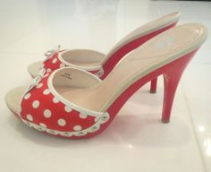 e2ef03132f1c8 Miss America Red White Polka Dot Pinup Burlesque High Heel Mules US 8.5  Miss America,