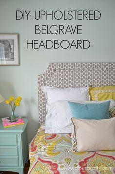 DIY upholstered headboard | Lacefield Zira Bisque block print textile  via Ciburbanity Blog