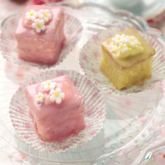 Try these gorgeous little sponge cakes covered in icing. They are perfect for afternoon tea.