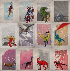 Superhero Dinosaurs! Marvel x Dinosaur Fun Illustrations Created By Legitimus Maximus