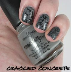 CG Concrete Crackle over Liquid Leather. I love this crackle. Crackle Nails, Beauty Junkie, China Glaze, Swatch, Concrete, Nail Polish, My Style, Photos, Leather