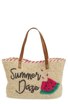 Free shipping and returns on Nordstrom Summer Daze Straw Tote at Nordstrom.com. This spacious straw tote is sure to make a splash with its colorful trim and summery graphics.