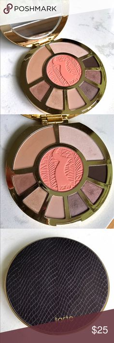 Tarte Showstopper Limited Edition Palette This gently used Tarte palette features both eye and face products. While these shades have been tested, the first few photos show that the palette is still in very good condition. The final photo (used only for reference) shows the shades in the palette including Park Avenue Princess bronzer and Tarte Amazonian Clay blush in Fame. The palette also includes a large mirror for easy application. tarte Makeup Eyeshadow