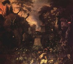 Matthias Withoos, Landscape with Graveyard by Night