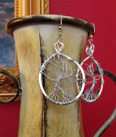 New Design of the Day - Hand Woven Tree of Life Earrings Silver by Eldwenne on Etsy, $22.00 #etsy #handmade #jewelry #pagan #wiccan #spn #tvd