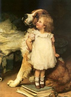 "Antique Victorian Artist Signed Oil on Board Painting Girl with St Bernard after Charles Burton Barber ""I Am Higher! Paintings I Love, Dog Paintings, Beautiful Paintings, Art And Illustration, Illustrations, Victorian Art, Dog Art, Vintage Children, Vintage Art"
