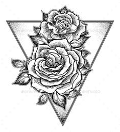 Fashion boho flash linear style beautiful roses. Peony or rose flower with sacred geometry frame. Tattoo, mystic symbol. Graphic v