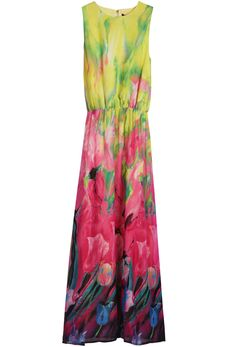 {Sleeveless Rhinestone Floral Chiffon Dress} love the watercolour look to the floral pattern