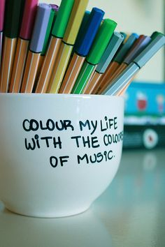 the colors of music  Use white vases, bowls, etc for organizing. Label with sharpie and bake.