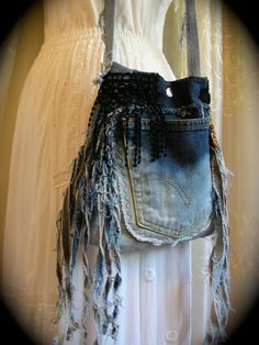 Upcycled Denim Purse, frayed tattered fringes, dipped dyed bleach, recycled blue jean.