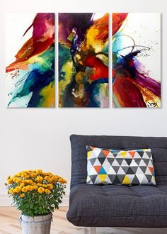 Shop big wall art at Great BIG Canvas. Turn your photos to art, browse classic art, build a custom bus roll, or discover emerging artists. Dorm Room Colors, Cuadros Diy, Big Wall Art, Photo To Art, Oeuvre D'art, Painting Inspiration, Decoration, Diy Art, Bunt
