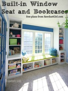 Built-in window seat & bookcases | free plans | sawdustgirl